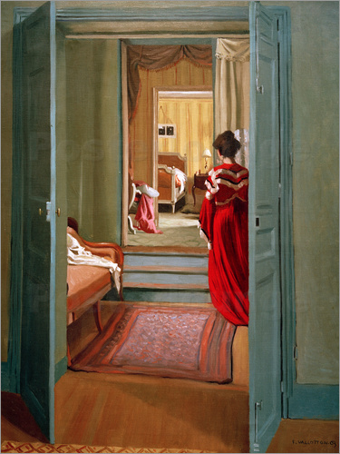 Felix Edouard Vallotton - Interieur mit Frau in Rot