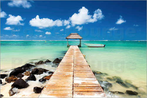 Jordan Banks - Jetty and boat on the turquoise water, Black River, Mauritius, Indian Ocean, Africa
