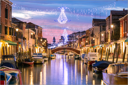 matteo colombo kanal in venedig an weihnachten poster. Black Bedroom Furniture Sets. Home Design Ideas