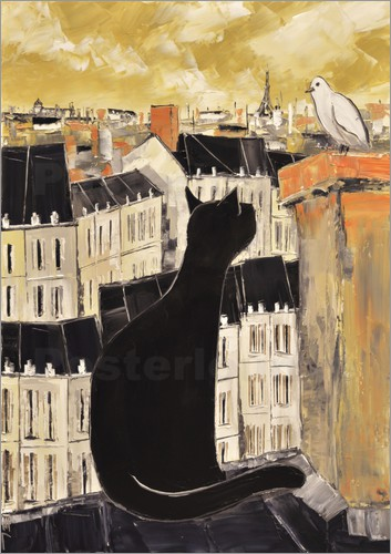 Poster Cat and dove in Paris