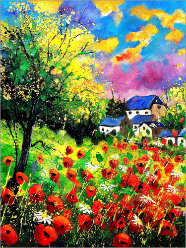 Poster Landscape with poppies