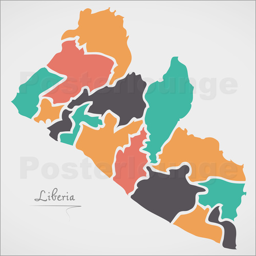 Poster Liberia map modern abstract with round shapes