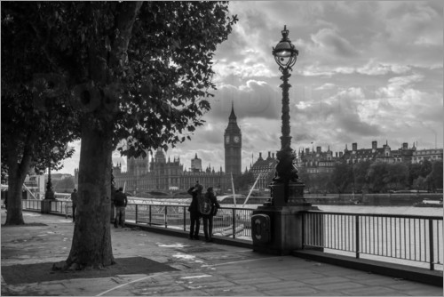 Poster London an der Themse Big Ben monochrome