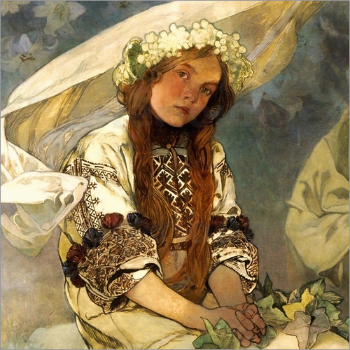alfons mucha madonna der lilien detail poster online. Black Bedroom Furniture Sets. Home Design Ideas