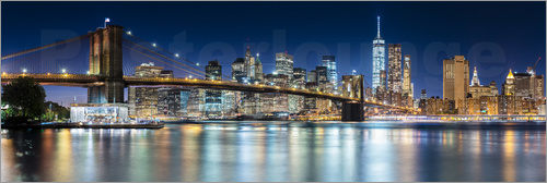 Poster New York City Skyline bei Nacht (Panorama)
