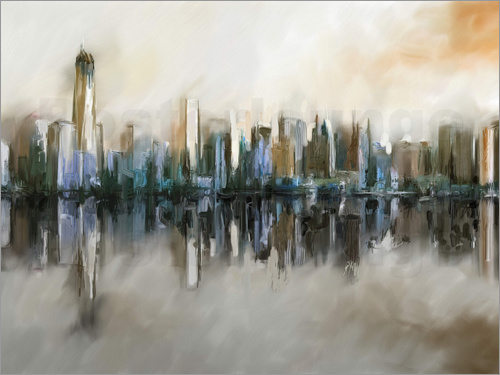 Poster New York Skyline abstrakt Malerei