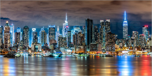 sascha kilmer new york skyline by night poster online bestellen posterlounge. Black Bedroom Furniture Sets. Home Design Ideas