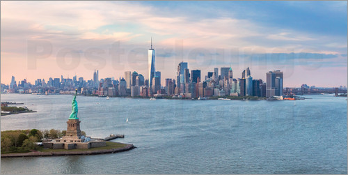 matteo colombo new york skyline mit freiheitsstatue poster online bestellen posterlounge. Black Bedroom Furniture Sets. Home Design Ideas