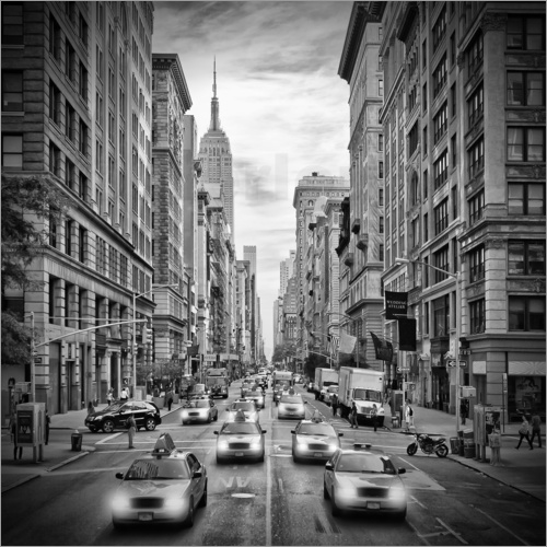 Poster NYC 5th Avenue Verkehr Monochrom