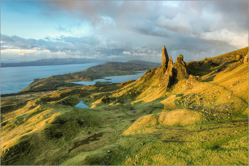 Poster Old Man of Storr im Morgenlicht, Isle of Skye, Schottland
