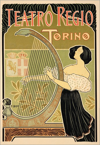 Italian School - Reproduction of a poster advertising the 'Theatre Royal', Turin