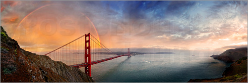 Poster San Francisco Golden Gate mit Regenbogen