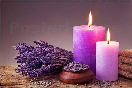 Poster Spa still life with candles and lavender