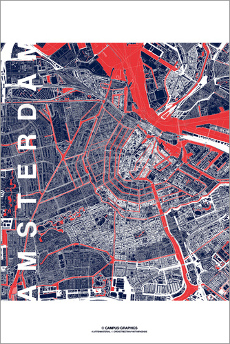 Poster City of Amsterdam Map midnight