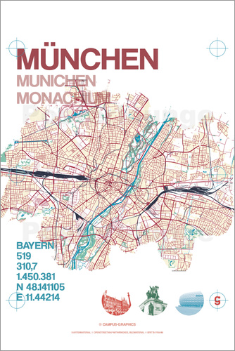 Poster Munich city map