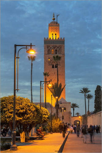 Martin Child - The Minaret of Koutoubia Mosque illuminated at night, UNESCO World Heritage Site, Marrakech, Morocco