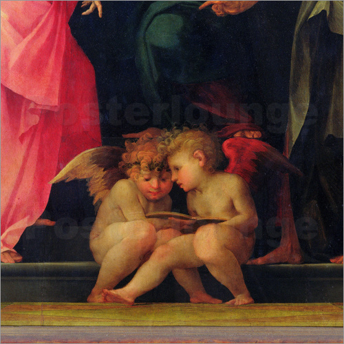 Giovanni Battista Rosso Fiorentino - Two cherubs reading, detail from Madonna and Child with Saints, 1518