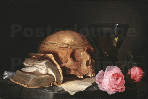 Poster A Vanitas Still Life with a Skull, a Book and Roses