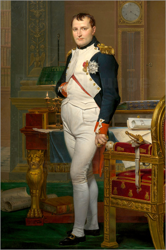 Poster Vintage painting of The Emperor Napoleon in his study.