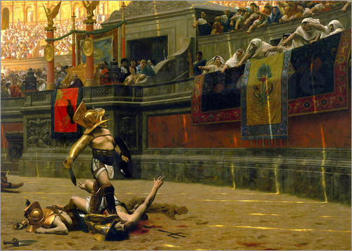 John Parrot - Vintage print of a Roman Gladiator with his defeated opponent.