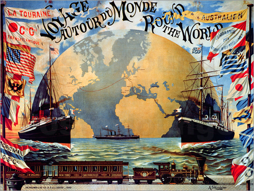 Jakob Emil Schindler - 'Voyage Around the World', poster for the 'Compagnie Generale Transatlantique', late 19th century