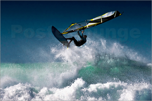 Ben Welsh - Windsurfer in the air above splashing waves, Tarifa, Cadiz, Andalusia, Spain