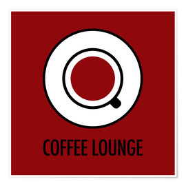 Premium-Poster Coffee Lounge, rot