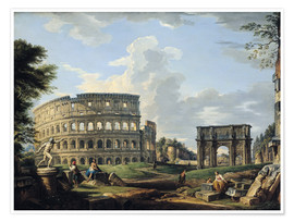 Poster  The Colosseum and the Arch of Constantine - Giovanni Paolo Pannini