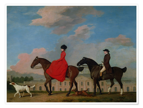 Premium-Poster John und Sophia Musters reitend auf Colwick Hall