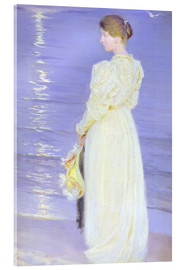 Acrylglas  Frau in Weiß am Strand  - Peder Severin Kroyer