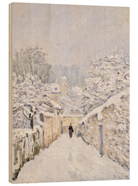 Holzbild  Schnee in Louveciennes - Alfred Sisley