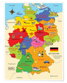 Premium-Poster  Bundesländer für Kinder - Fluffy Feelings