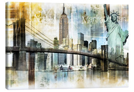Leinwandbild  Skyline New York Abstrakt Fraktal - Städtecollagen