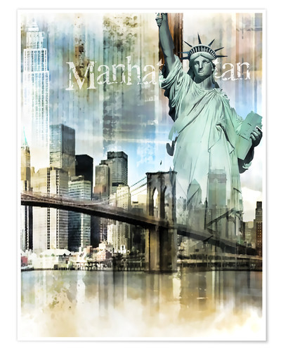 Premium-Poster New Yorker Skyline, Manhattan, abstrakt
