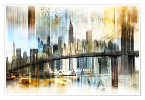 Premium-Poster Skyline New York Abstrakt Fraktal