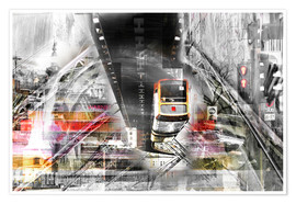 Premium-Poster Wuppertal Abstrakte Collage Skyline