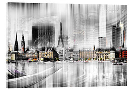 Acrylglasbild  Hamburg Skyline SW Abstrakte Collage - Städtecollagen