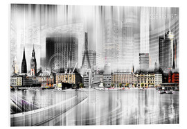 Hartschaumbild  Hamburg Skyline SW Abstrakte Collage - Städtecollagen