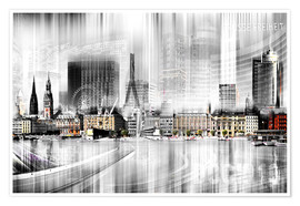 Premium-Poster  Hamburg-Skyline in Schwarz/Weiß, abstrakte Collage - Städtecollagen