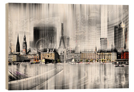 Holzbild  Hamburg Skyline SW Abstrakte Collage - Städtecollagen