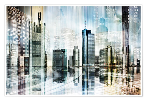 Premium-Poster Frankfurter Skyline (Collage), abstrakt