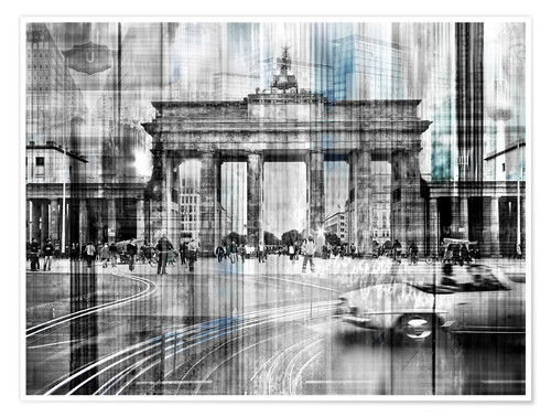 Premium-Poster Berlin Stadtansicht Collage skyline Brandenburger Tor