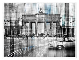 Premium-Poster  Berlin Stadtansicht Collage skyline Brandenburger Tor - Städtecollagen