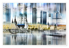 Premium-Poster München Skyline Abstrakte Collage