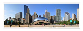 Premium-Poster  Panorama-Jahrtausend-Park in Chicago mit Cloud Gate - HADYPHOTO