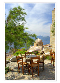 Premium-Poster  Terrasse am Meer - Cindy Miller Hopkins