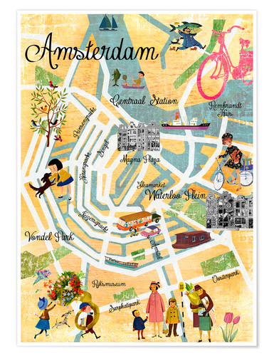 Poster Retro Amsterdam Collage