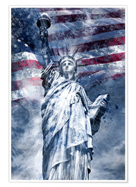 Premium-Poster Modern Art STATUE OF LIBERTY blue