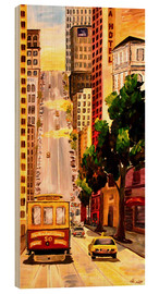 Holzbild  San Francisco - Van Ness Cable Car - M. Bleichner