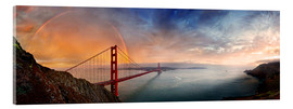 Acrylglasbild  San Francisco Golden Gate mit Regenbogen - Michael Rucker